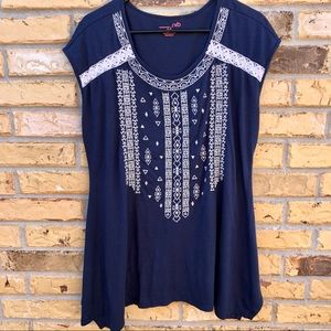 RXB Asymmetrical Top With Embroidery M